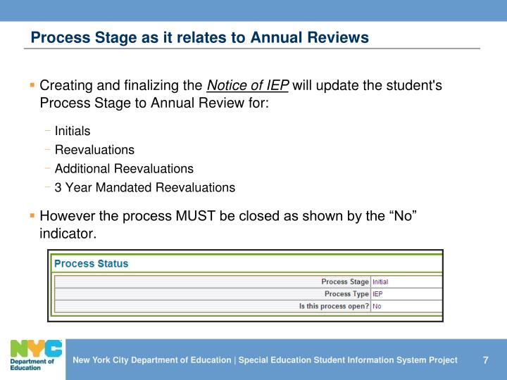 Process Stage as it relates to Annual Reviews
