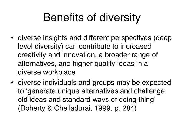 Benefits of diversity
