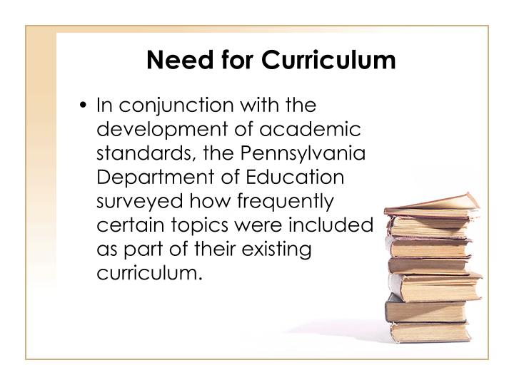 Need for Curriculum