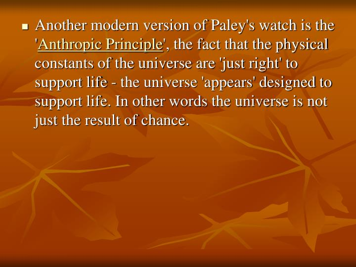 Another modern version of Paley's watch is the '
