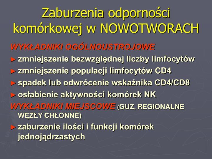 Zaburzenia odporności komórkowej w NOWOTWORACH