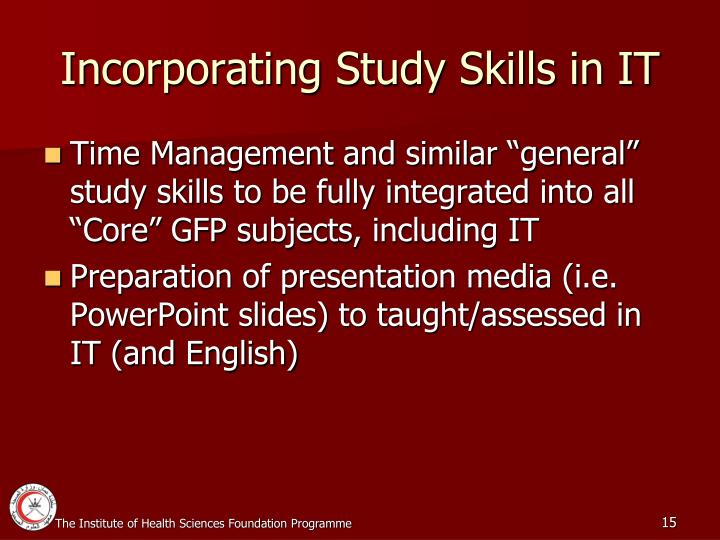 Incorporating Study Skills in IT