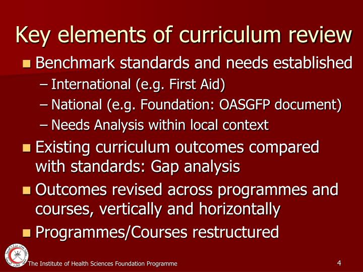 Key elements of curriculum review