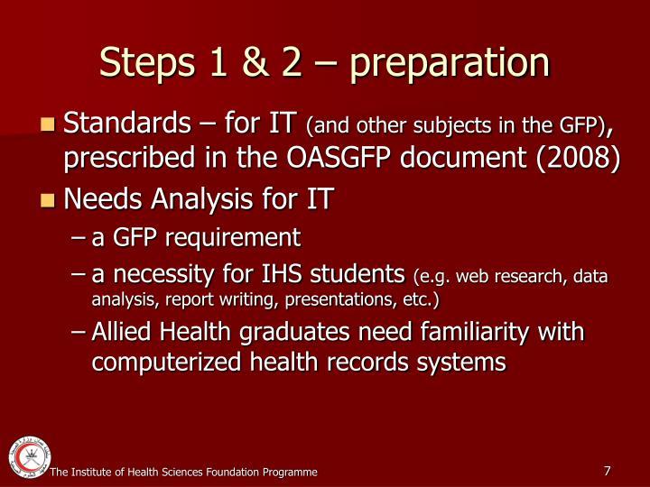 Steps 1 & 2 – preparation