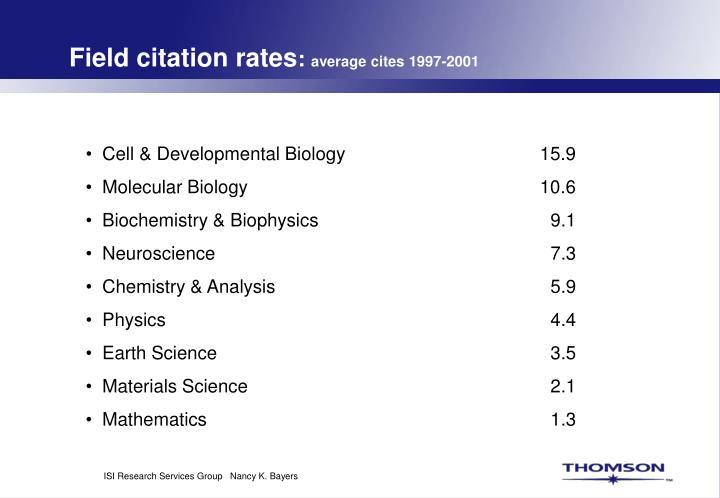Field citation rates