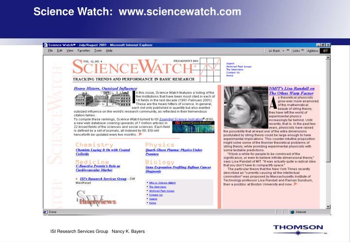 Science Watch:  www.sciencewatch.com