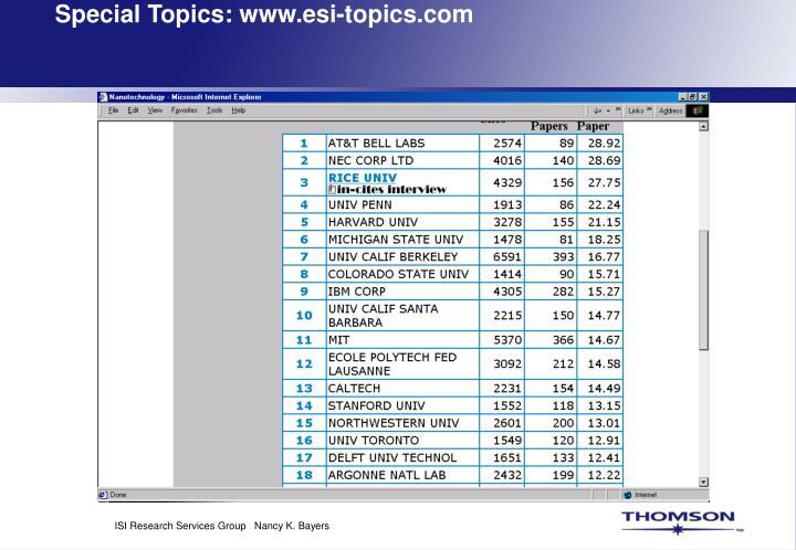Special Topics: www.esi-topics.com