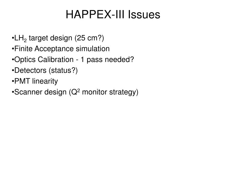 HAPPEX-III Issues