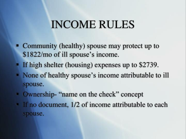 INCOME RULES