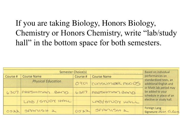 """If you are taking Biology, Honors Biology, Chemistry or Honors Chemistry, write """"lab/study hall"""" in the bottom space for both semesters."""