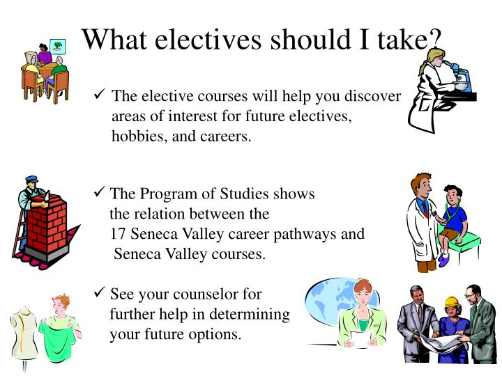 The elective courses will help you discover areas of interest for future electives, hobbies, and careers.