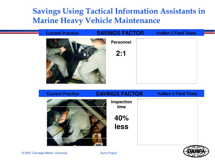 Savings Using Tactical Information Assistants in Marine Heavy Vehicle Maintenance