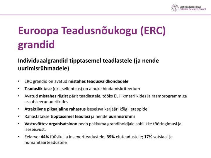 Euroopa Teadusnõukogu (ERC) grandid