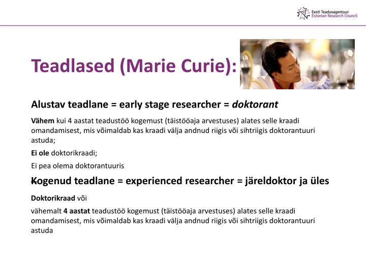 Teadlased (Marie Curie):
