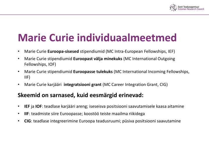 Marie Curie individuaalmeetmed