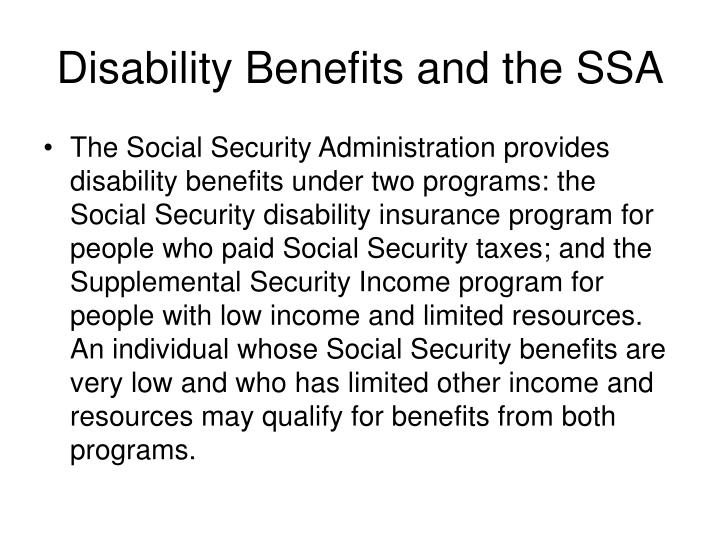Disability benefits and the ssa