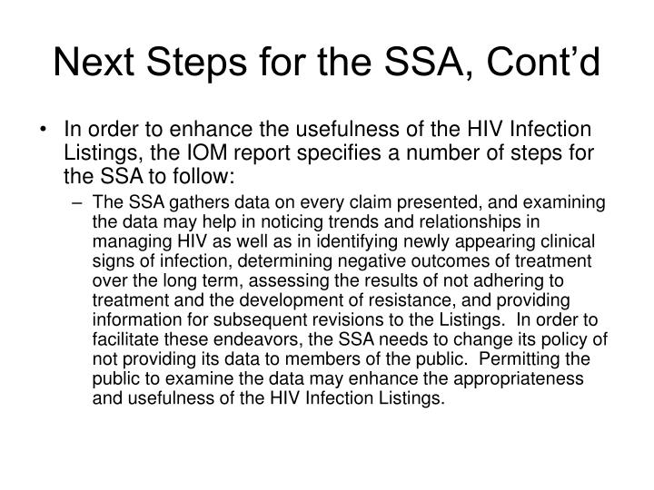 Next Steps for the SSA, Cont'd