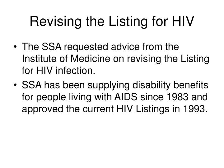 Revising the Listing for HIV