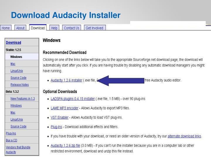 Download Audacity Installer
