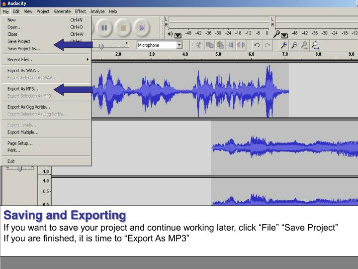 Saving and Exporting