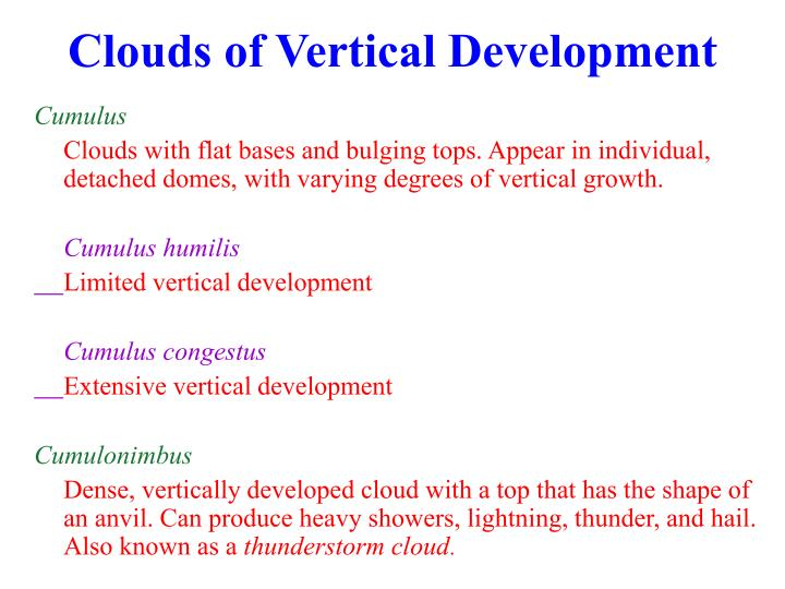 Clouds of Vertical Development