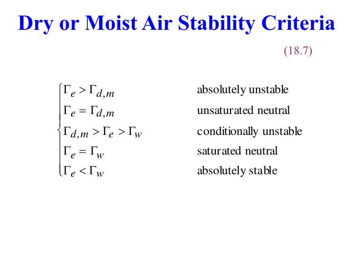 Dry or Moist Air Stability Criteria