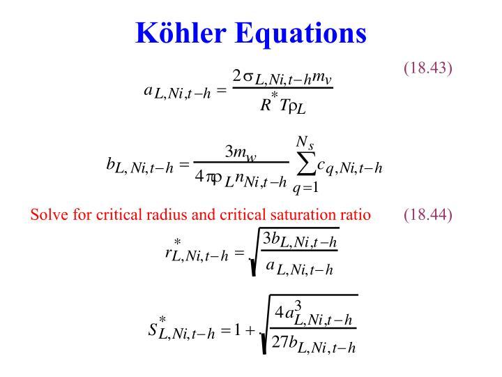 Köhler Equations