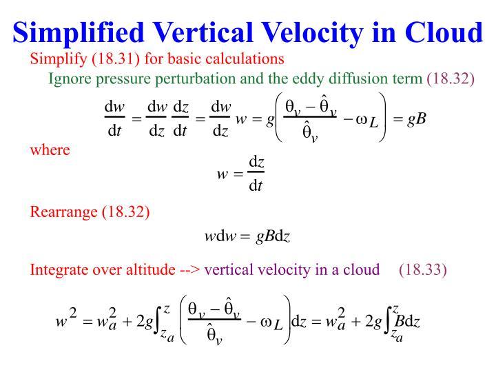 Simplified Vertical Velocity in Cloud