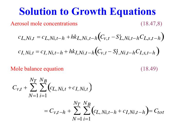 Solution to Growth Equations