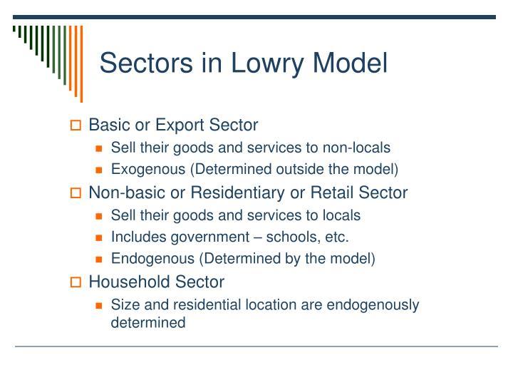 Sectors in Lowry Model