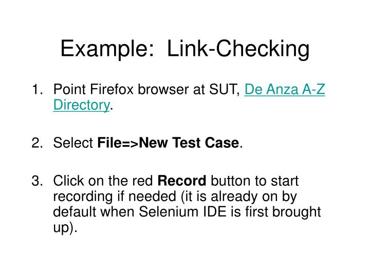 Example:  Link-Checking