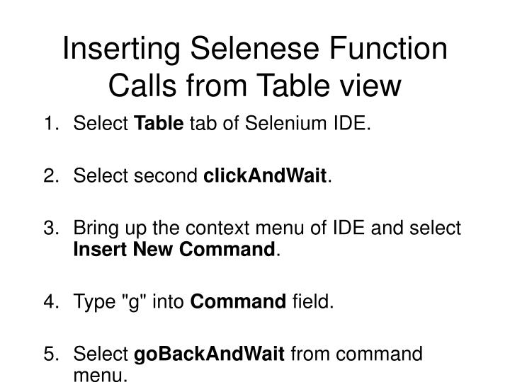 Inserting Selenese Function Calls from Table view