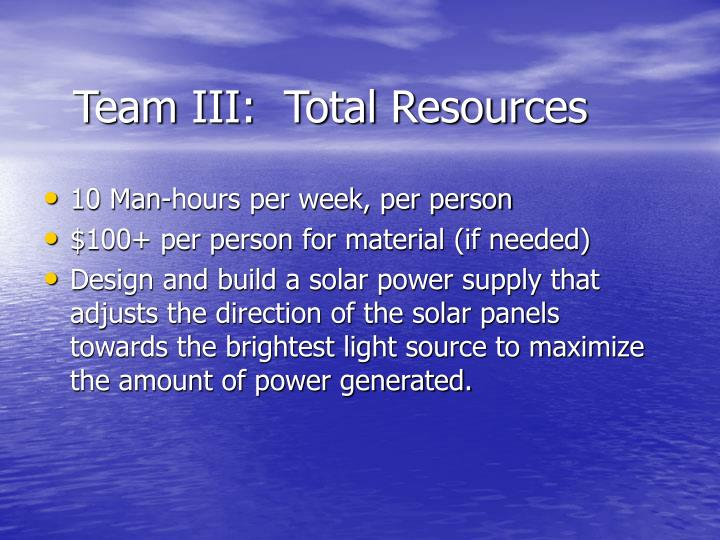 Team III:  Total Resources