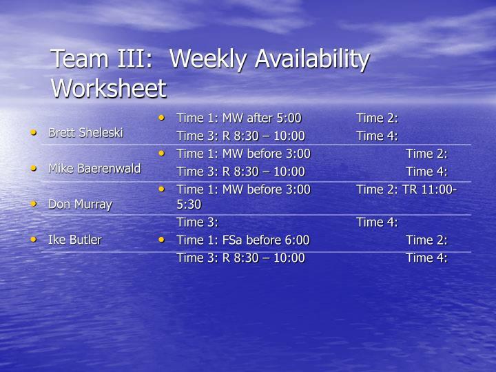 Team III:  Weekly Availability Worksheet