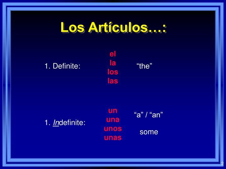 Los Artículos…: