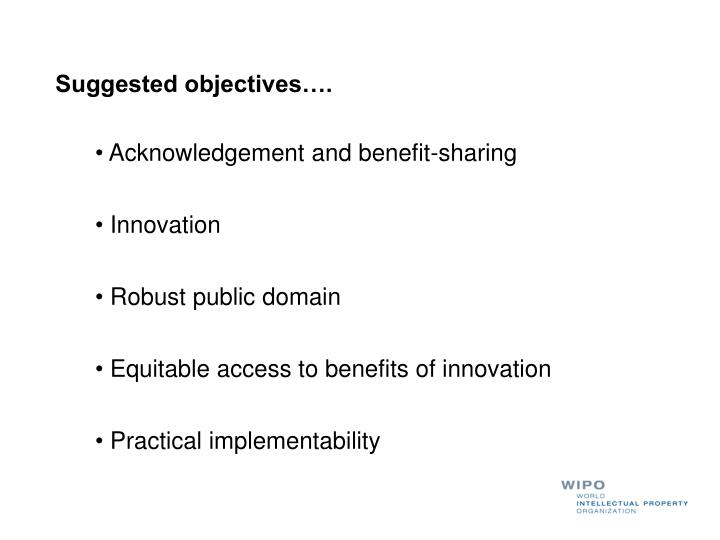 Suggested objectives….