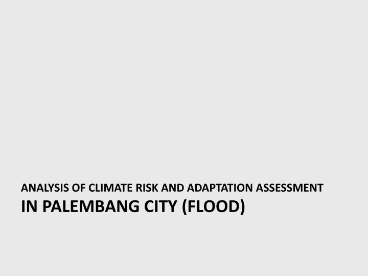 Analysis of Climate risk and adaptation assessment