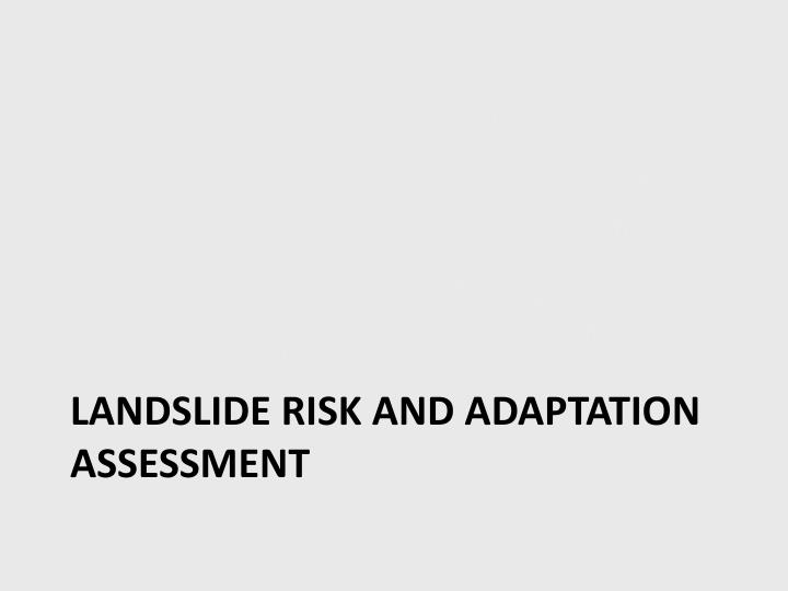 Landslide risk and adaptation assessment