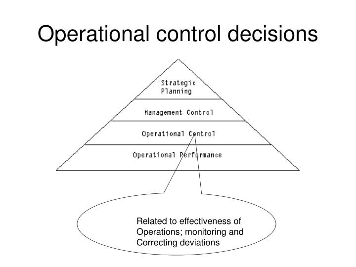 Operational control decisions