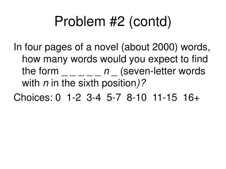Problem #2 (contd)