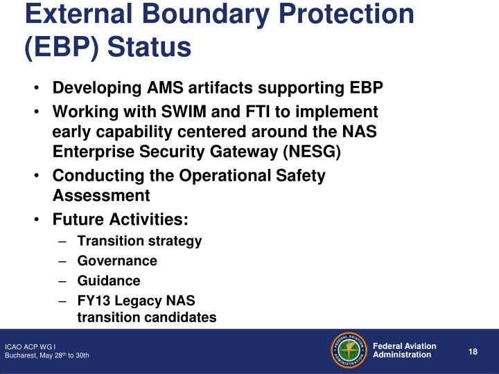 External Boundary Protection (EBP) Status