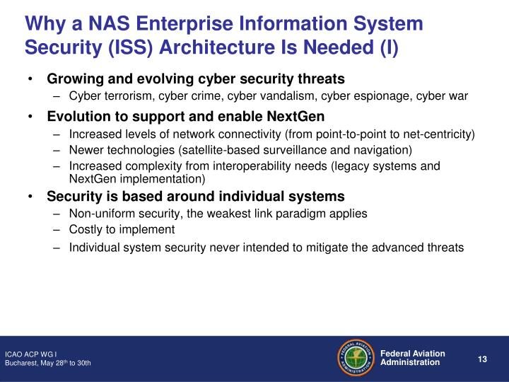 Why a NAS Enterprise Information System Security (ISS) Architecture Is Needed (I)