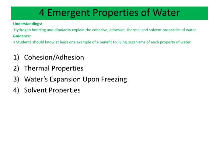 4 Emergent Properties of Water
