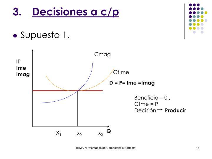 Decisiones a c/p