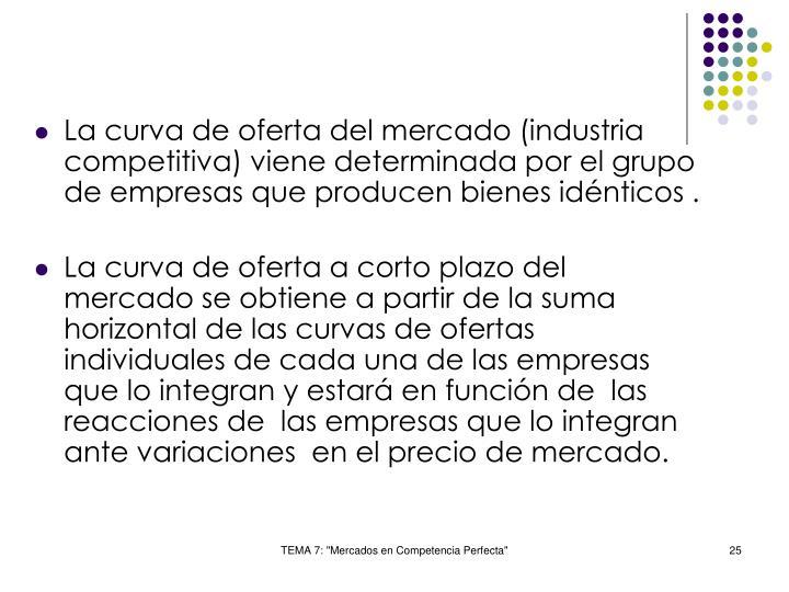 La curva de oferta del mercado (industria competitiva) viene determinada por el grupo de empresas que producen bienes idénticos .