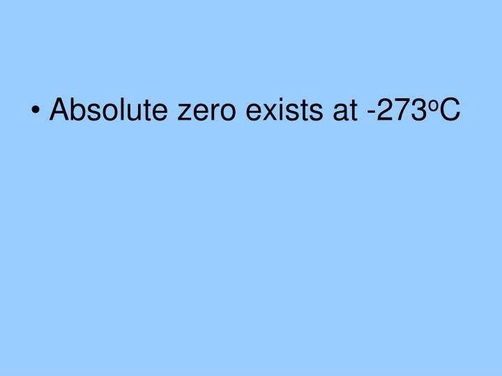Absolute zero exists at -273