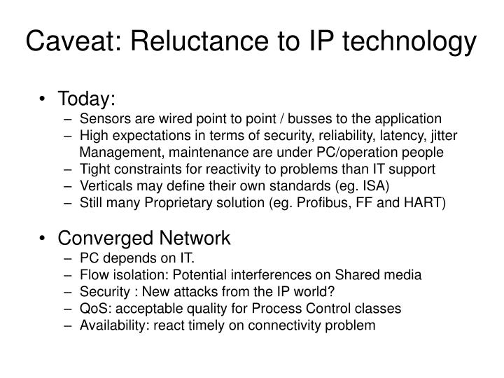 Caveat: Reluctance to IP technology