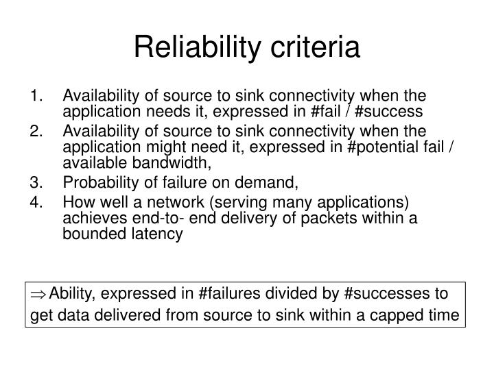 Reliability criteria