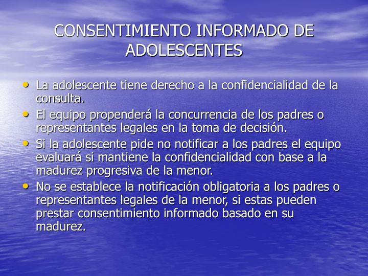 CONSENTIMIENTO INFORMADO DE ADOLESCENTES