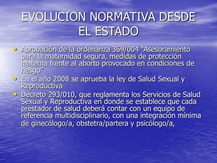 EVOLUCION NORMATIVA DESDE EL ESTADO
